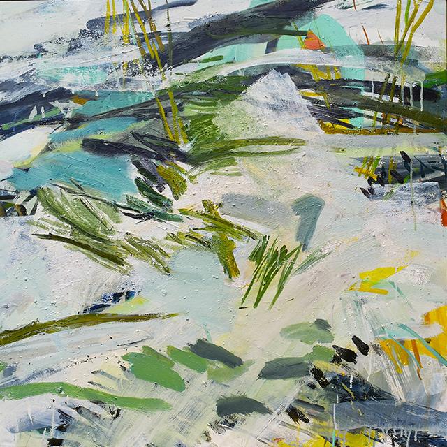 Conversation avec sapins et rochers, acrylique sur toile, 80x80cm