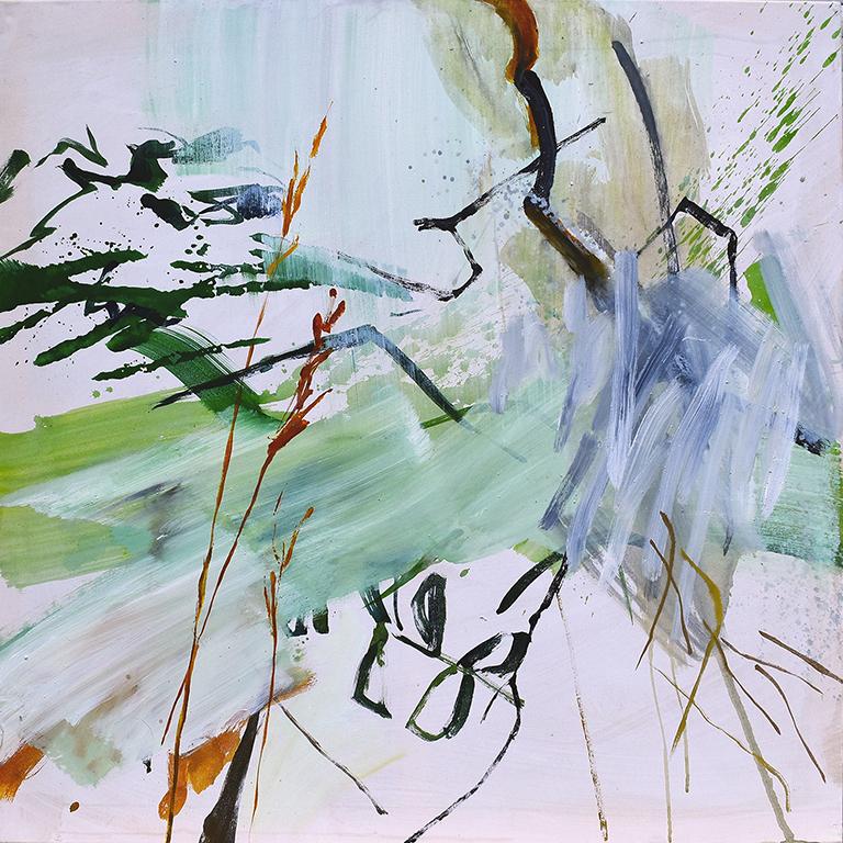 Sous un cerisier, acrylique sur toile, 100x100 cm