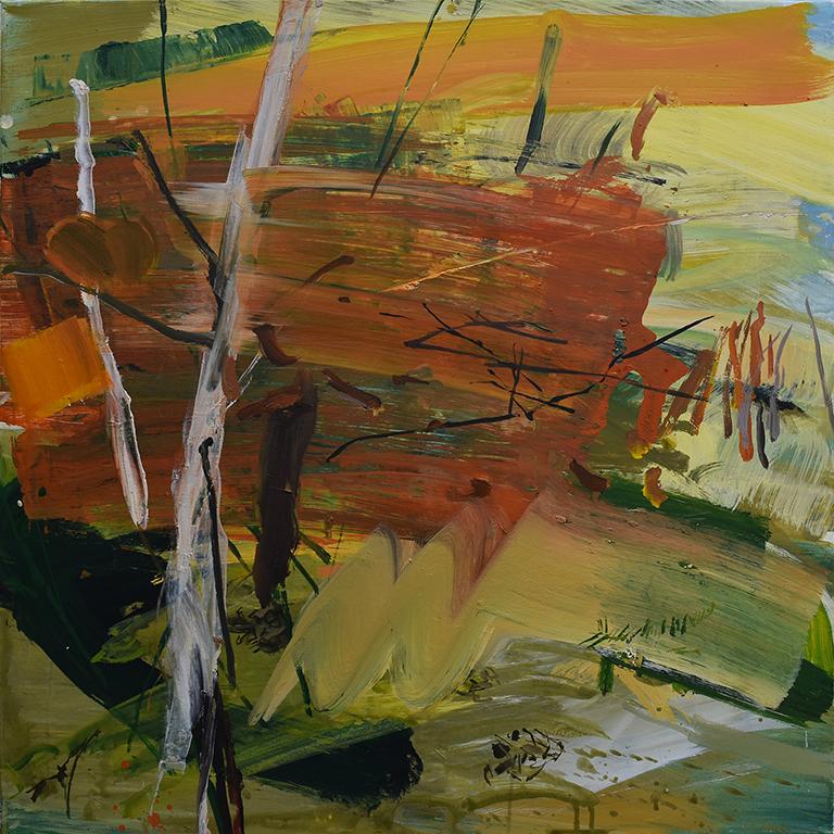 Sous bois, acrylique sur toile, 90x90 cm