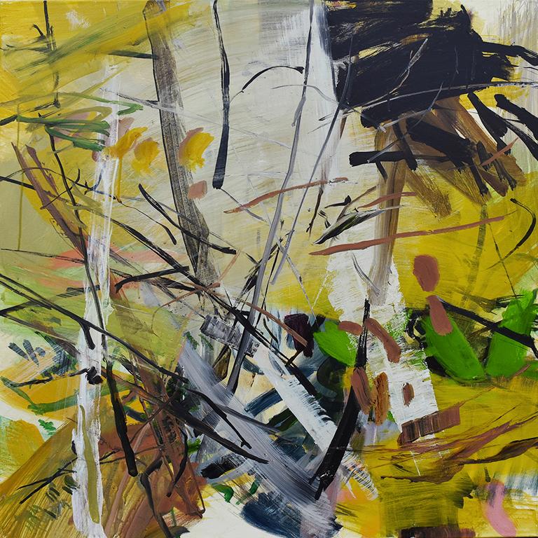 Bouleaux, acrylique sur toile, 90x90 cm