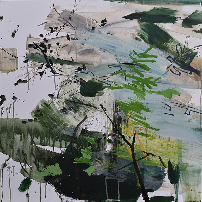 Cimes, acrylique sur toile, 90x90 cm